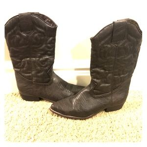 Dark Brown Mid Calf Cowgirl Boots